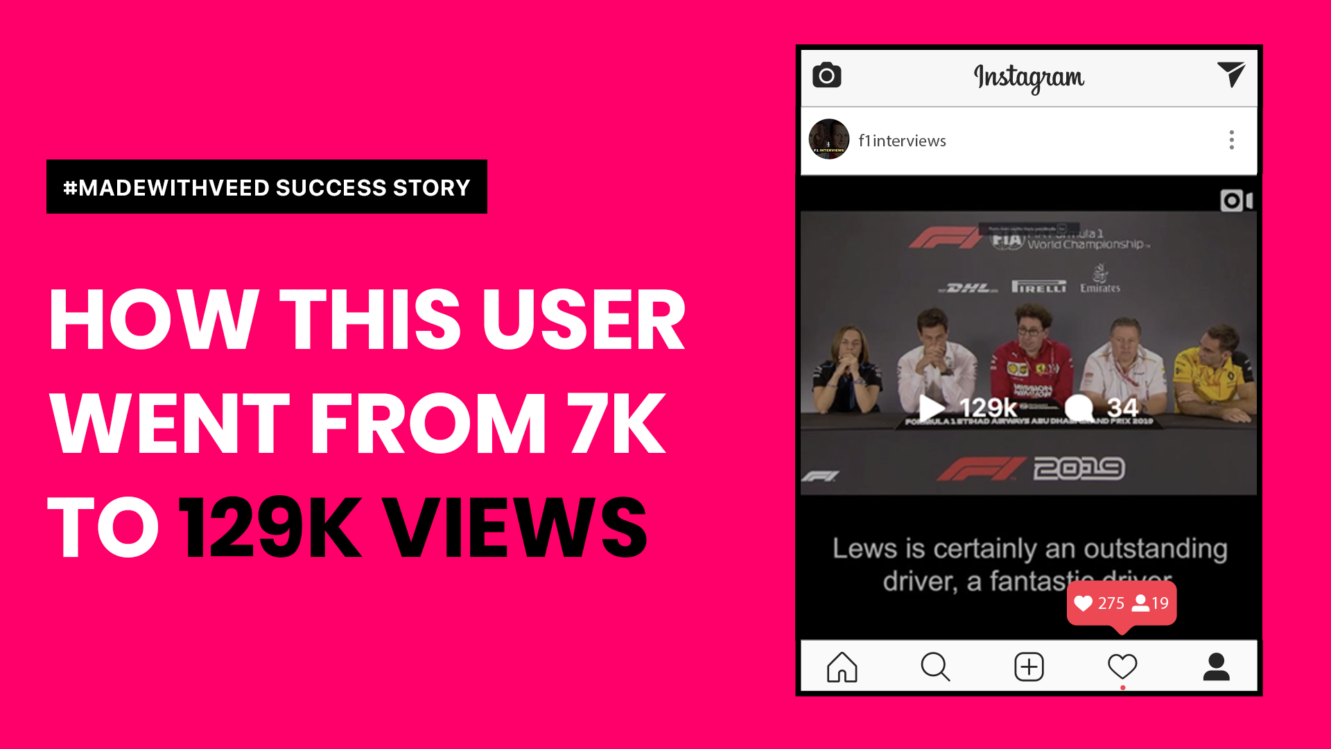 How @f1interviews Got 129K Instagram Video Views with VEED