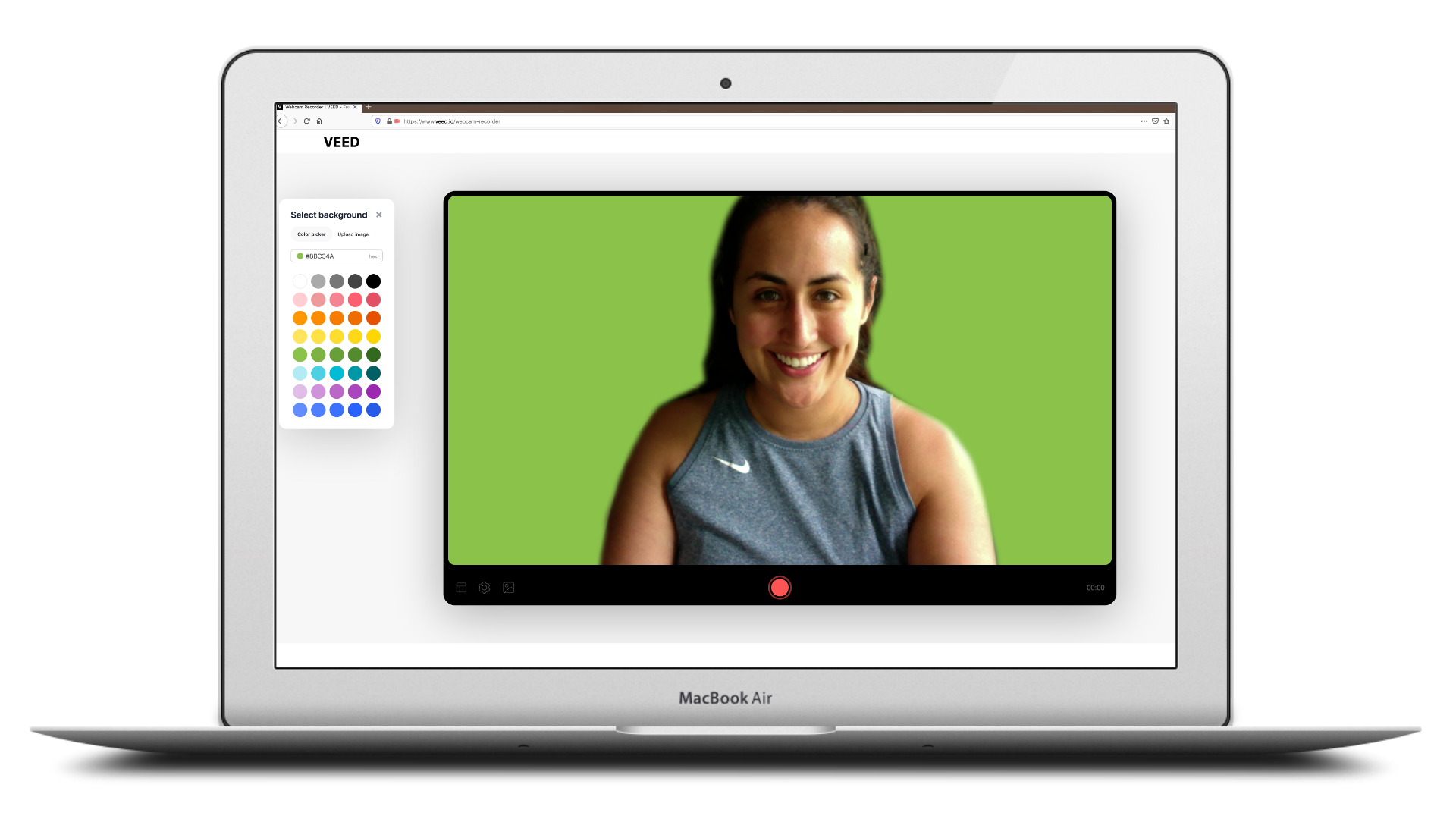 Color palette selection of VEED.IO's webcam recorder displayed inside of MacBook Air