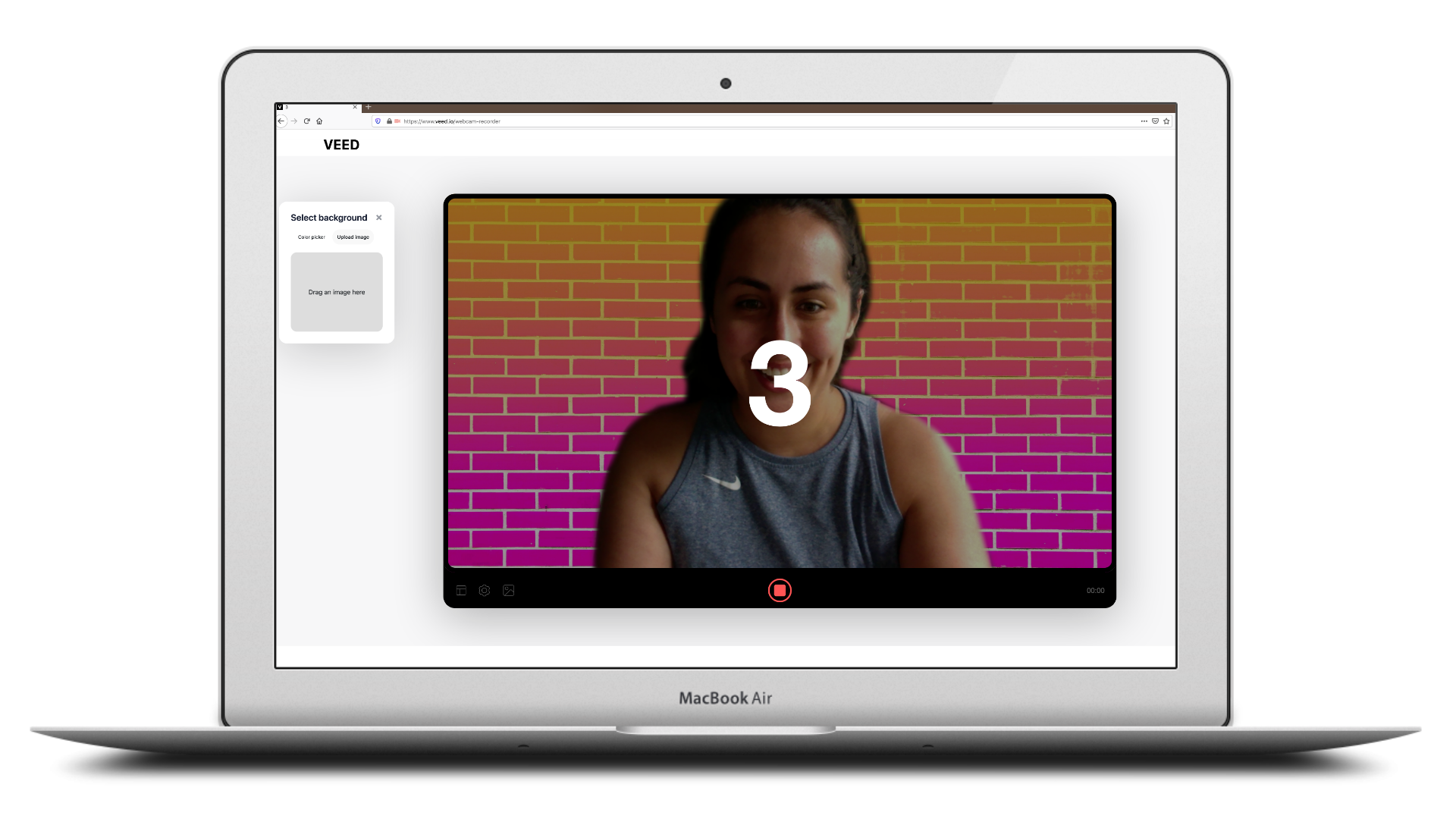 Video recording about to begin displaying a 3-second timer on the screen of a macbook air