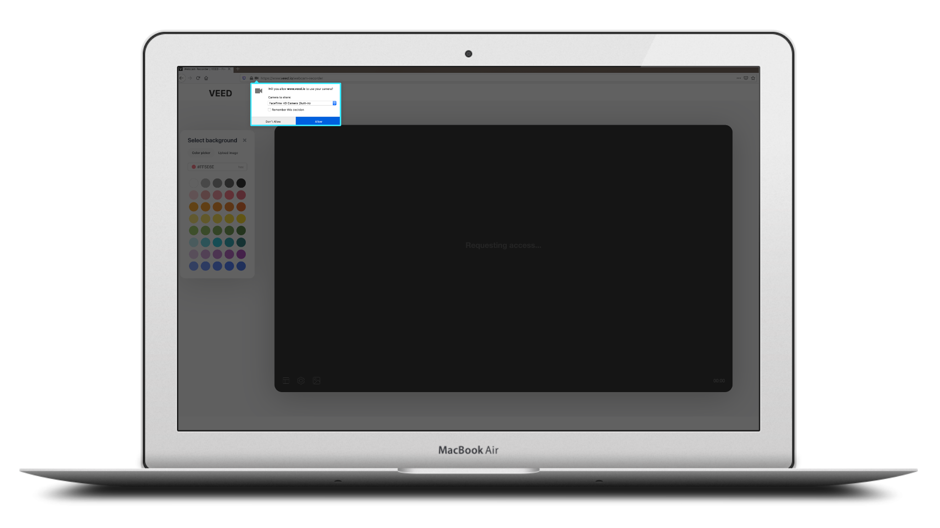Prompt to allow webcam and microphone access inside of VEED.IO's webcam recording tool displayed inside of a macbook air