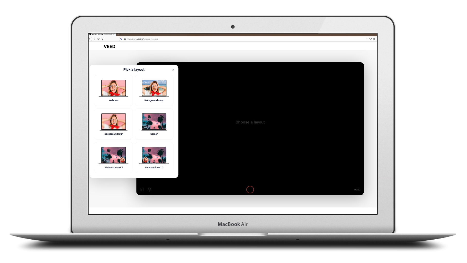 VEED.IO's webcam recording tool and layout options displayed inside of a MacBook Air